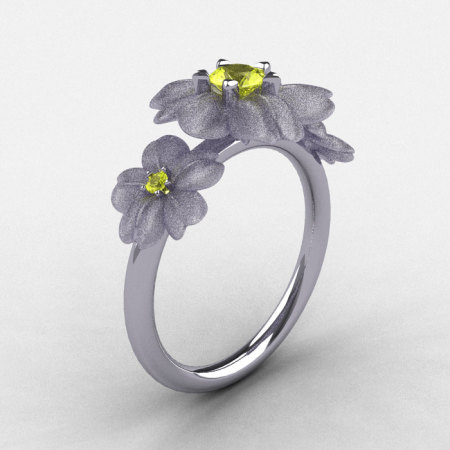 Natures Nouveau 14K White Gold Yellow Sapphire Flower Engagement Ring NN107S-14KWGYS-1