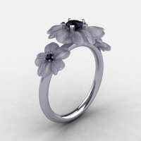 Natures Nouveau 14K White Gold Black Diamond Flower Engagement Ring NN107S-14KWGBD-1