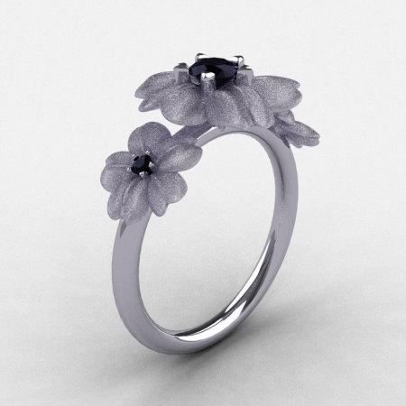 Natures Nouveau 14K White Gold Black Diamond Flower Engagement Ring NN107S-14KWGBD-1