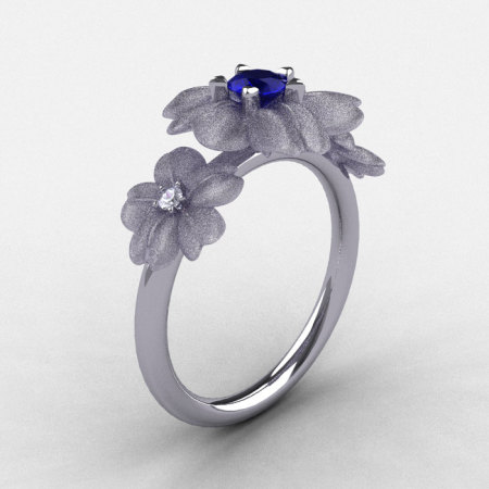 14K White Gold Blue Sapphire Diamond Flower Wedding Ring Engagement Ring NN107-14KWGDBS-1