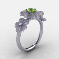 14K White Gold Peridot Diamond Flower Wedding Ring Engagement Ring NN107-14KWGDP-1