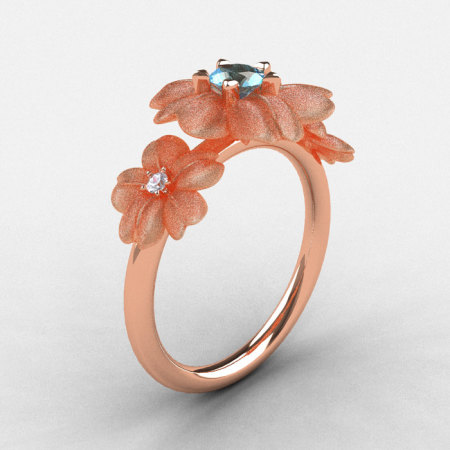 14K Rose Gold Aquamarine Diamond Flower Wedding Ring Engagement Ring NN107-14KRGDAQ-1