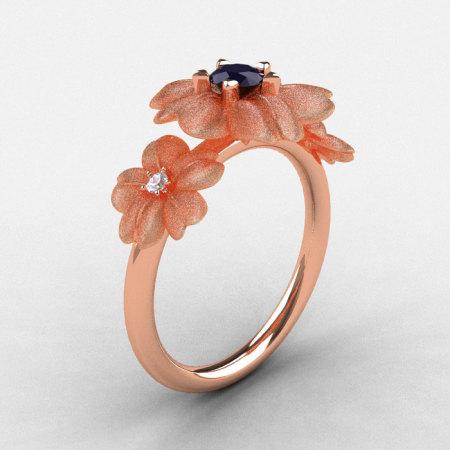 Natures Nouveau 14K Rose Gold Dark Blue Sapphire Diamond Flower Engagement Ring NN107S-14KRGDDBS-1
