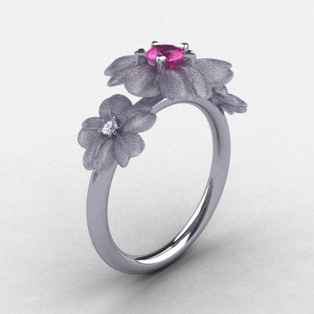 14K White Gold Pink Sapphire Diamond Flower Wedding Ring Engagement Ring NN107-14KWGDPS-1