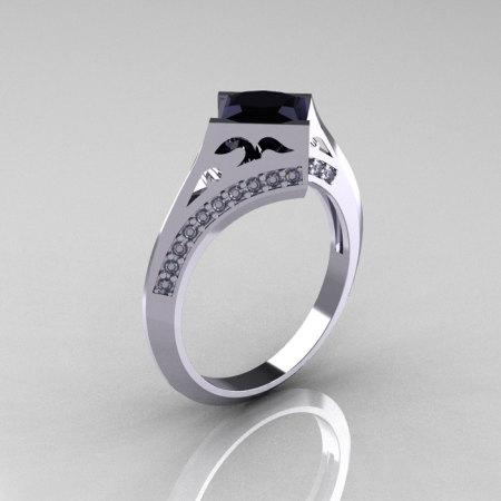 Modern French 950 Platinum .93 CT Princess Black Diamond Engagement Wedding Ring R176-PLATDBD-1
