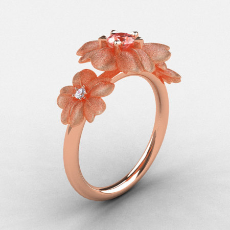 14K Rose Gold Morganite Diamond Flower Wedding Ring Engagement Ring NN107-14KRGDMO-1