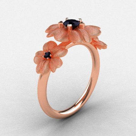 14K Rose Gold Black Diamond Flower Wedding Ring Engagement Ring NN107-14KRGBDD-1