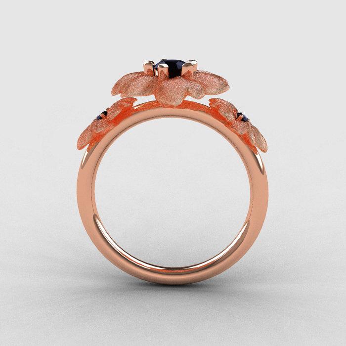 14K Rose Gold Black Diamond Flower Wedding Ring Engagement Ring