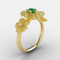 14K Yellow Gold Emerald Diamond Flower Wedding Ring Engagement Ring NN107-14KYGDEM-1