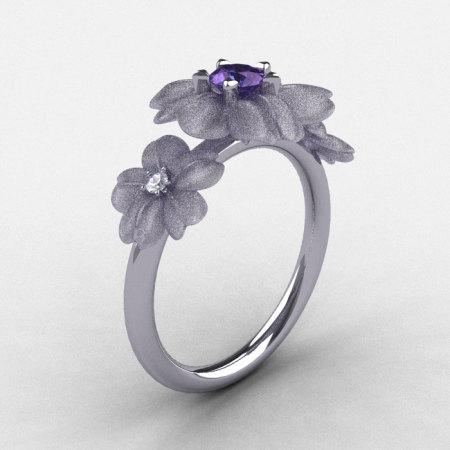 Natures Nouveau 950 Platinum Alexandrite Diamond Flower Engagement Ring NN107S-PLATDAL-1
