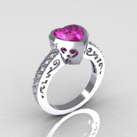 Classic Bridal 14K White Gold 2.10 Carat Heart Pink and White Sapphire Ring R314-14WGWPS-1