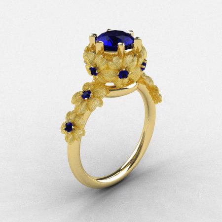 Natures Nouveau 18K Yellow Gold Blue Sapphire Flower Engagement Ring NN109S-18KYGBSS-1