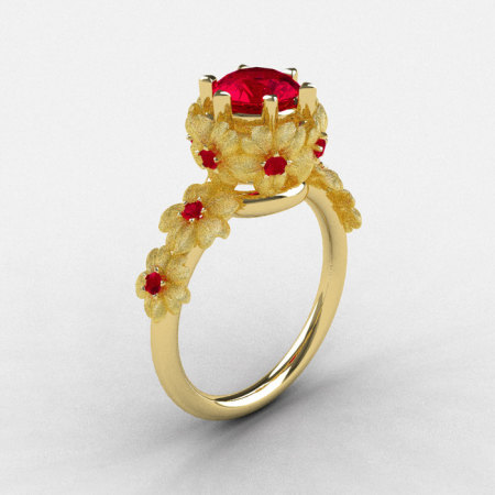 Natures Nouveau 18K Yellow Gold Ruby Flower Engagement Ring NN109S-18KYGRR-1