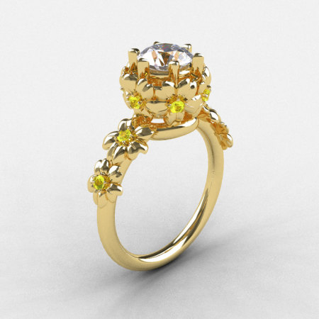 Natures Nouveau 14K Yellow Gold Cubic Zirconia Yellow Sapphire Flower Engagement Ring NN109-14KYGYSCZ-1