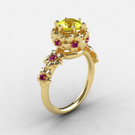 Natures Nouveau 14K Yellow Gold Yellow Sapphire Amethyst Flower Cocktail Engagement Ring NN109-14KYGAMYS-1