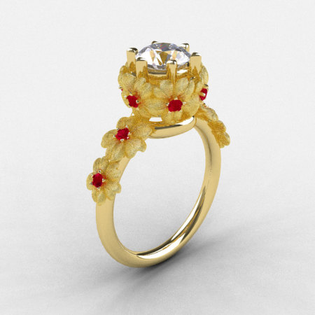 Natures Nouveau 14K Yellow Gold Cubic Zirconia Ruby Flower Engagement Ring NN109S-14KYGRCZ-1