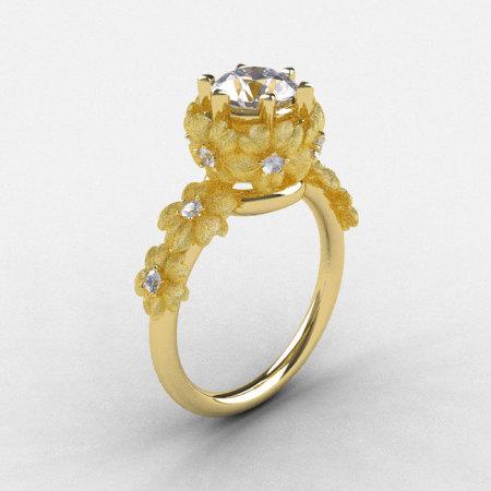 14K Yellow Gold White Sapphire Diamond Flower Wedding Ring Engagement Ring NN109S-14KYGDWS-1