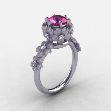 Natures Nouveau 14K White Gold Pink Sapphire Diamond Flower Engagement Ring NN109S-14KWGDPS-1