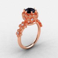 14K Rose Gold Black and White Diamond Flower Wedding Ring Engagement Ring NN109S-14KRGDBD-1