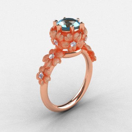 14K Rose Gold Aquamarine Diamond Flower Wedding Ring Engagement Ring NN109S-14KRGDAQ-1