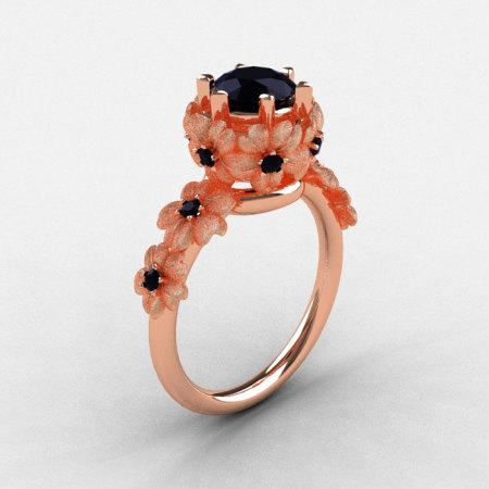 14K Rose Gold Black Diamond Flower Wedding Ring Engagement Ring NN109S-14KRGBDD-1