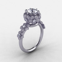 14K White Gold White Sapphire Diamond Flower Wedding Ring Engagement Ring NN109S-14KWGDWS-1