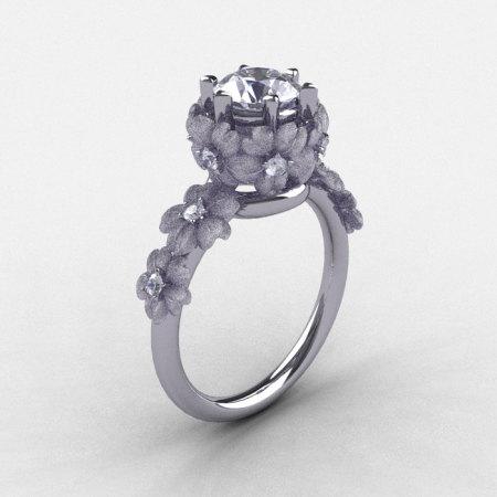 14K White Gold White Sapphire Diamond Flower Wedding Ring Engagement Ring NN109S-14KWGDWS-1