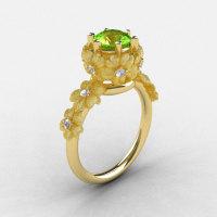 14K Yellow Gold Peridot Diamond Flower Wedding Ring Engagement Ring NN109S-14KYGDP-1