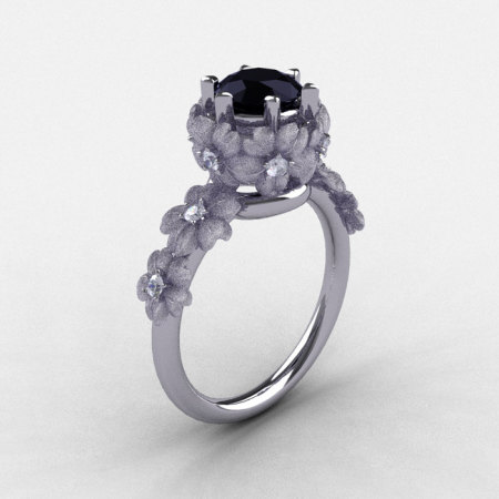 18K White Gold Black and White Diamond Flower Wedding Ring Engagement Ring NN109S-18KWGDBD-1