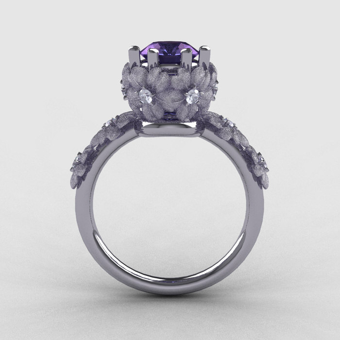 14k white gold alexandrite diamond flower wedding ring engagement 14k white gold alexandrite diamond flower wedding ring engagement ring nn109s 14kwgdal 2 junglespirit Choice Image