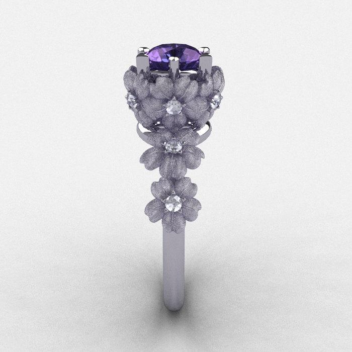 14K White Gold Alexandrite Diamond Flower Wedding Ring Engagement NN109S 14KWGDAL 3
