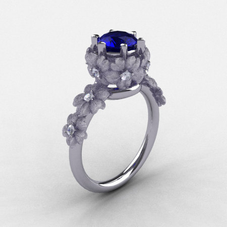 Natures Nouveau 950 Platinum Blue Sapphire Diamond Flower Engagement Ring NN109S-950PLATDBS-1