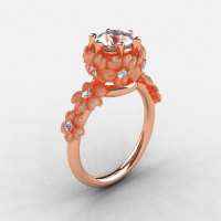 14K Rose Gold Cubic Zirconia Diamond Flower Wedding Ring Engagement Ring NN109S-14KRGDCZ-1