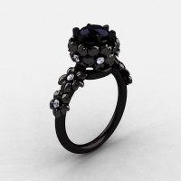 14K Black Gold Black and White Diamond Flower Wedding Ring Engagement Ring NN109-14KBGDBD-1