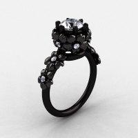 14K Black Gold White Sapphire Diamond Flower Wedding Ring Engagement Ring NN109-14KBGDWS-1