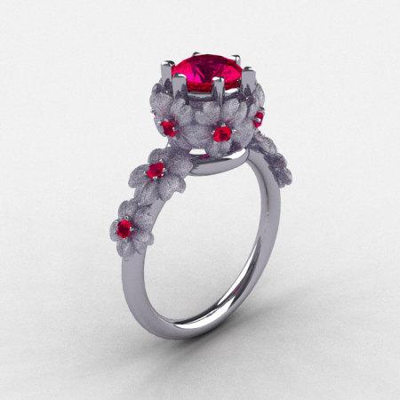 14K White Gold Ruby Flower Wedding Ring Engagement Ring NN109S-14KWGRR-1