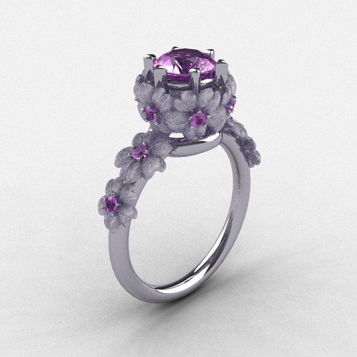 14k white gold lilac amethyst flower wedding ring engagement ring