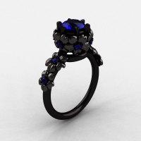 14K Black Gold Blue Sapphire Flower Wedding Ring Engagement Ring NN109-14KBGBS-1