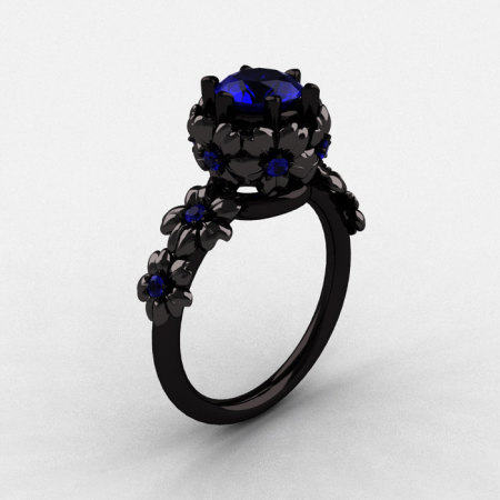 14K Black Gold Blue Sapphire Flower Wedding Ring Engagement Ring NN109-14KBGBS-1