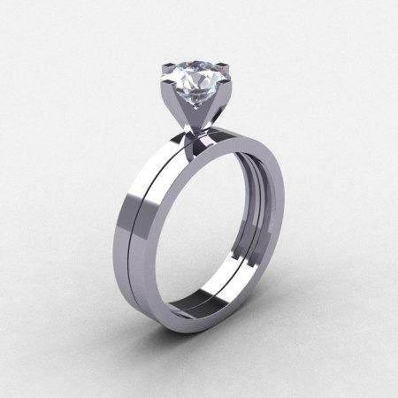 Modern 14K White Gold 1.0 CT White Sapphire Solitaire Engagement Ring Wedding Band Bridal Set R186S-14KWGWS-1