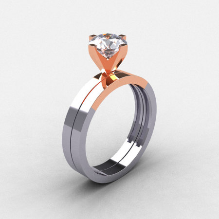 Modern 18K Two Tone Gold 1.0 CT White Sapphire Solitaire Engagement Ring Wedding Band Bridal Set R186S-18KTT4WRGWS-1