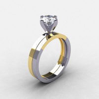 Modern 14K Two Tone Gold 1.0 CT White Sapphire Solitaire Engagement Ring Wedding Band Bridal Set R186S-14KTT2WYGWS-1