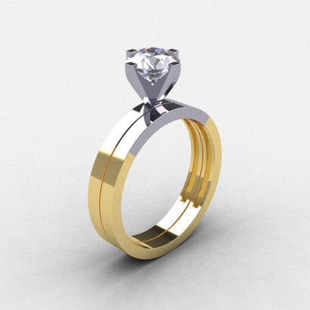Modern 18K Two Tone Gold 1.0 CT White Sapphire Solitaire Engagement Ring Wedding Band Bridal Set R186S-18KTT1WYGWS-1