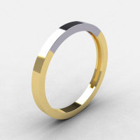 Modern 18K Two Tone Yellow and White Gold Wedding Band R186B-18KTT1WYG-1