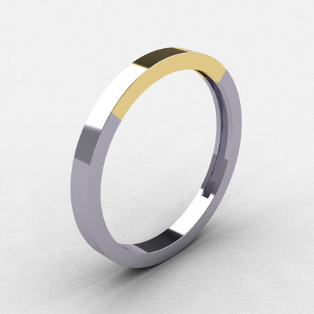 Modern 10K Two Tone Yellow and White Gold Wedding Band R186B-10KTT3WYG-1