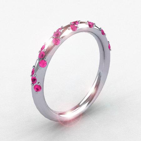French Bridal 14K White Gold Pink Sapphire Wedding Band R185B-14KWGPS-1