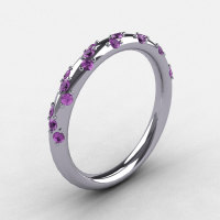 French Bridal 10K White Gold Lilac Amethyst Wedding Band R185B-10KWGLA-1