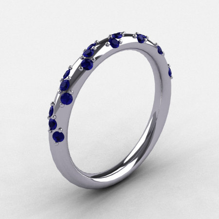 French Bridal 14K White Gold Blue Sapphire Wedding Band R185B-14KWGBS-1