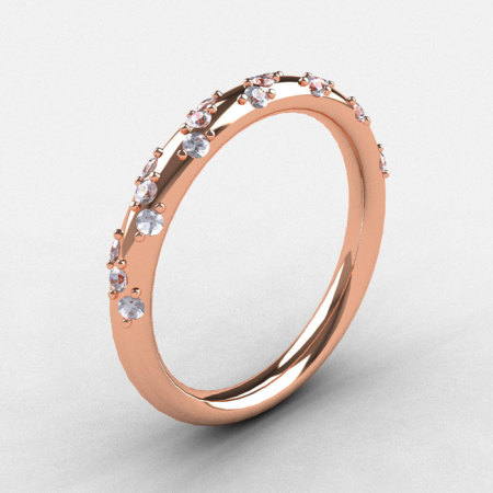 French Bridal 10K Rose Gold Diamond Wedding Band R185B-10KRGD-1