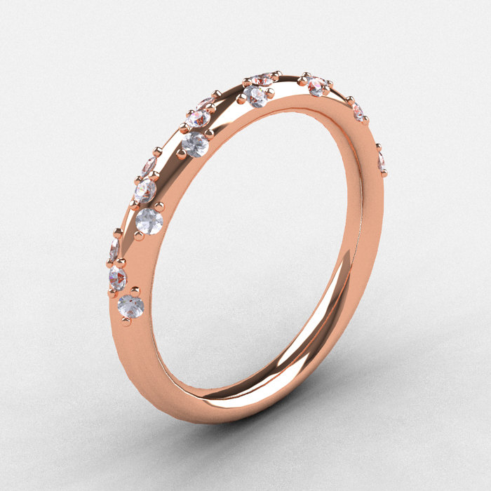 Delicieux French Bridal 10K Rose Gold Diamond Wedding Band R185B 10KRGD 1